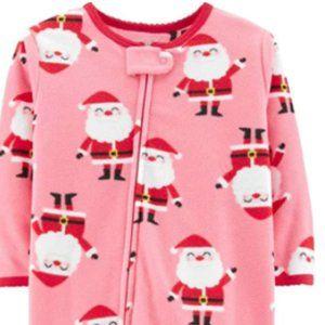 Carter's Girls Christmas Themed Pink Footie PJs 3T
